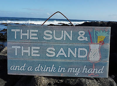 SUN SAND & DRINK IN MY HAND Tropical Beach Wood Home Decor Tiki Bar Sign NEW