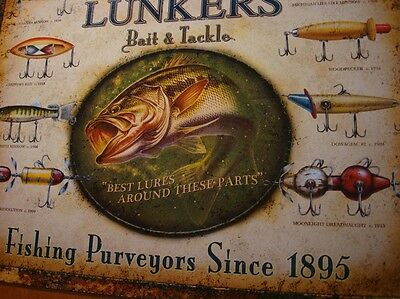 LUNKERS BAIT & TACKLE Antique Fishing Lures on Rustic Fisherman Sign Decor NEW