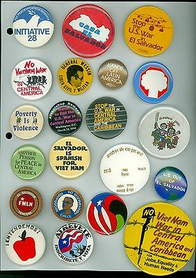21 Vintage 1970s-80s Peace & Anti-War Pinback Buttons - Poverty Is Violence