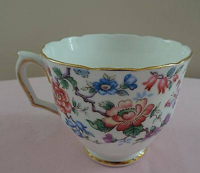 Pink, Blue and Violet Flowers Crown Staffordshire  England Teacup
