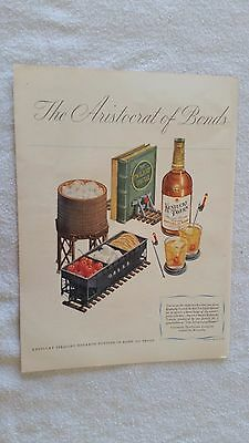 Railroad Theme In Very Nice Full Color 1947 Kentucky Tavern Bourbon Whiskey Ad