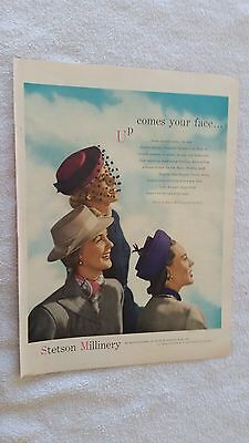 Three Pretty Women Up Comes Your Face in 1947 Stetson Millinery Full Color Ad