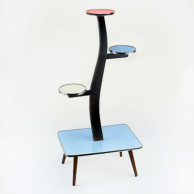 Vintage Plant Stand Diplay Table Shelf Blue Red Beige Mid-Century Modern 1950s