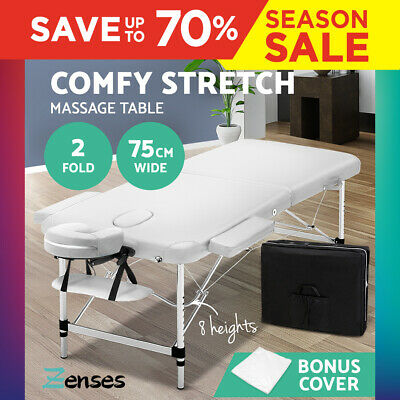 75cm Portable Aluminium Massage Table Two Fold Black Treatment Beauty Therapy