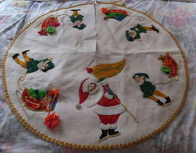 Vintage Handmade Santa Greetings Elves Sequin Glitter Felt Christmas Tree Skirt