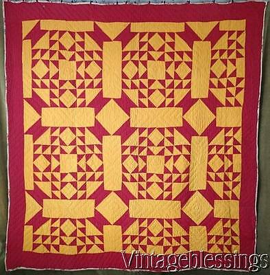 "RICH Antique 19th century Red & Cheddar BASKET QUILT 80x77""Chintz Back"