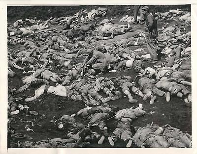 """1951 Bodies of Chinese Communists after """"Human Wave"""" Attack in Korea Press Photo"""
