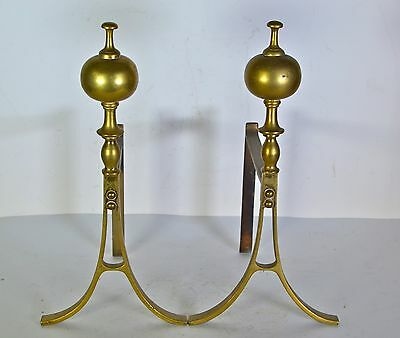 Vintage modernist mid century chenets andirons art deco small size brass antique