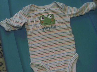 "Infant 3 Months Multi-Colored Striped LS Frog ""Playful"" Onesie (T1)"