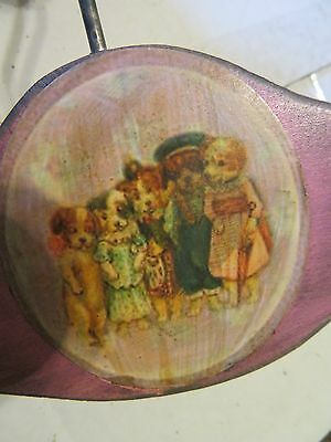 Vintage Child's Wood Clothes Hanger with Dressed Dogs Picture on It