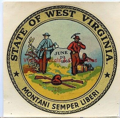 Vintage Travel Decal State Of West Virginia 1863 Seal Souvenir Goldfarb Novelty