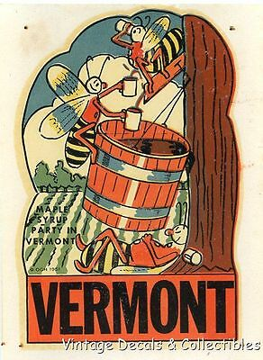 Vintage Vermont Maple Syrup 1951 Original Souvenir State Travel Decal Novelty
