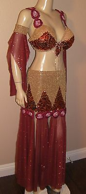 Professional Egyptian hand made 4-pieces Gold Orange Red belly dance costume