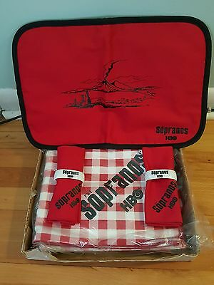 Hbo Sopranos Tablecloth/2 Napkins W/ceramic Holders/2 Place Mats!original Box!