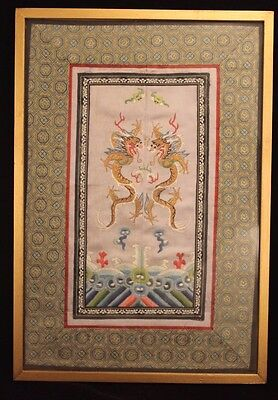 Antique Chinese Silk Embroidered Douniu 4 Claw Dragon Rank Badge Panel