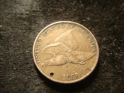 1858 LL VF XF Details Flying Eagle Cent Smaall Obverse Punch Mark   NY