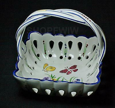 Vintage RCCL Portugal Hand-painted Reticulated Pottery Basket With Butterflies