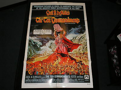 Ten Commandments   Original  One Sheet  R72   Yul Brynner  Charlton Heston