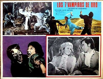 LEGEND OF 7 GOLDEN VAMPIRES '79 Horror Mexican Lobby Card DAVID CHIANG JULIE EGE