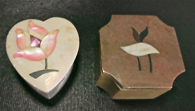 Estate Lot of 2 Alabaster Stone Trinket Jewelry Box Inlay Flowers 1 Heart Shaped