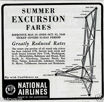 National Airlines 1949 Summer Excursion Fares To Florida Route Of Buccaneers Ad