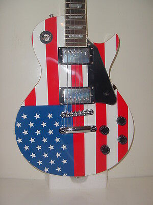 NEW Stedman Pro 6 String  Electric Guitar LP Red White Blue US Flag