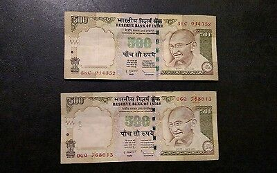 1000 Indian Rupees ( x2 500 Rupee Bank Not) Old Discontinued Currency