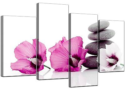 Large Pink Flower Floral Canvas Wall Art Pictures 130cm Set XL 4069