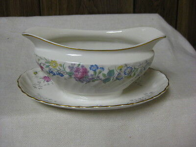 Syracuse USA China Lilac Rose Gravy Liner Attached Rose Lilac Yel Blue Flowers