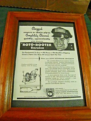 Vintage 1949 Roto Rooter Service Magazine Ad Framed