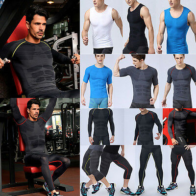 Boy Men Compression Base Layer Shirt Tops Pants Thermal Gym Running Sports Gear
