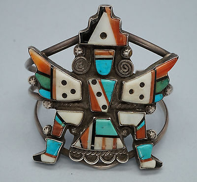 Early Zuni Knifewing Bracelet Sterling Silver Mosaic Inlay RXXX Native American