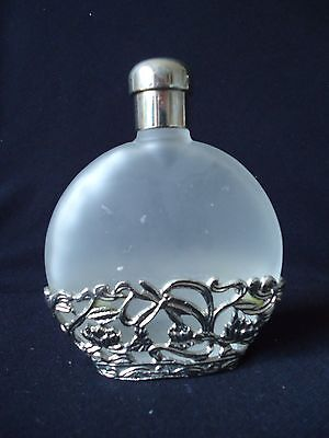 Frosted Glass & Silver Metal Perfume Bottle
