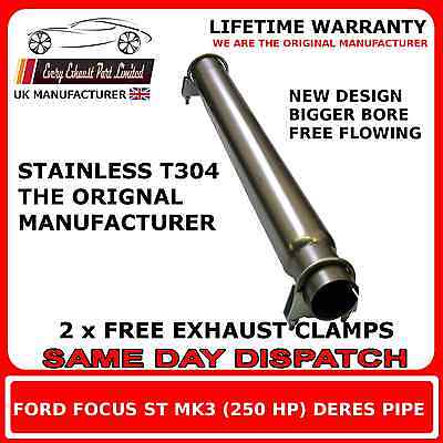 Ford Focus ST 250 and Mk3 Front silencer replacement delete pipe de-res pipe