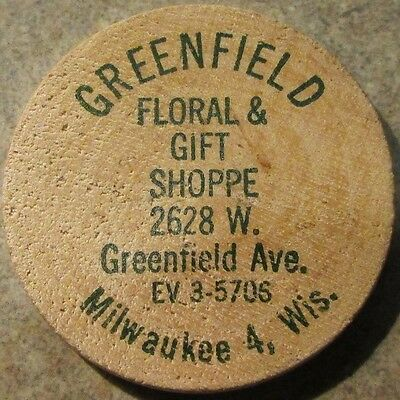 Vintage Greenfield Floral & Gift Milwaukee, WI Wooden Nickel - Token Wisconsin