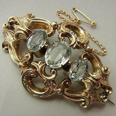 Stunning, Large, Antique Victorian 9Ct Gold & Amaquamarine Brooch