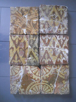 6 carreaux medieval  provins 13-15 eme siecles (tile french 13th -15th )