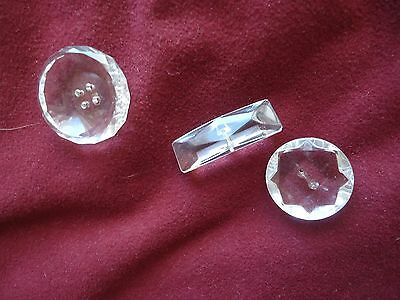 collection anciens  gros boutons bijoux cristal 1900 taille diamant