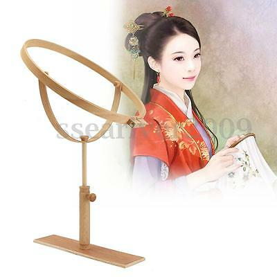 Adjustable Wooden Round Embroidery Hoop Frame Stand Cross-stitch Tool Lap Frame