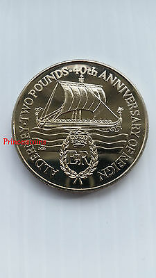 1992*unc*alderney 40Th Anniversary Of Reign £2 Two Pound Coin