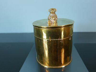 Trench Art style canister with teddy bear lid - 12cm high