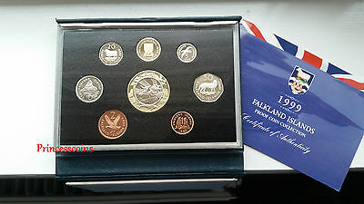 *scarce*1999 Royal Mint Issued Falkland Islands Proof 8 Coins Set Collection