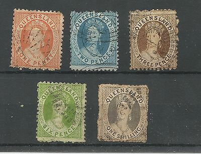 QUEENSLAND 1860's QUEEN VICTORIA USED OF SELECTION  1d 2d 3d 6d AND 1/- USED 121