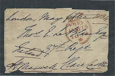 GB 1834 Freefront Signed W Maxwell from London to 37th Regt Clare Castle Ireland