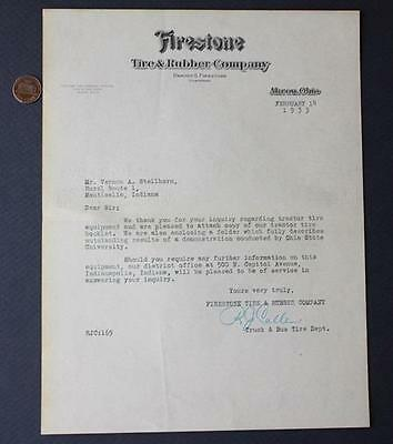 1933 Firestone Tire & Rubber Co.Valentine's Day Tractor Tires letter-VINTAGE!