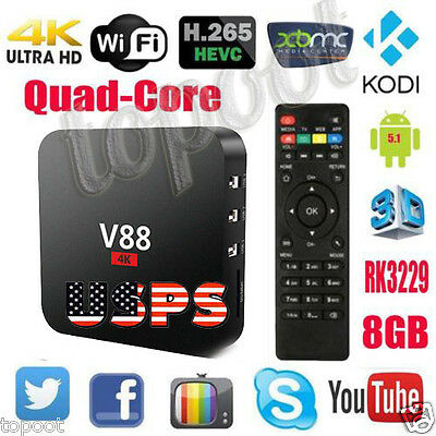 V88 Smart TV Box 8GB Android 5.1 RK3229 4K Quad Core H.265 WIFI Fully Loaded USA