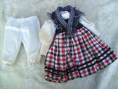 Alte Puppenkleidung Country Dress Outfit vintage Doll clothes 30 cm Girl