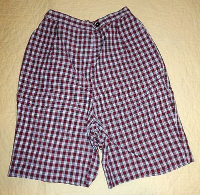 "Vintage 50's 60's Bobblie Brooks Cotton Plaid High Waisted Shorts 23"" waist XS S"