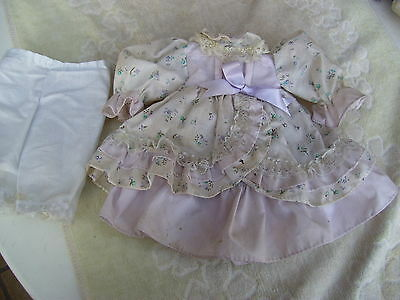 Alte Puppenkleidung Pastel Flowery Dress Outfit vintage Doll clothes 38 cm Girl