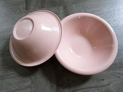 RUSSEL WRIGHT Flair Northern light pink solid plastic cereal soup bowls TWO